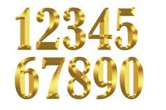 Złociste cyfry na białym tle ilustracja wektor