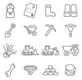 Złociste kopalnictwa lub gorączki złota ikony Cienieją Kreskowego Wektorowego ilustracja set royalty ilustracja