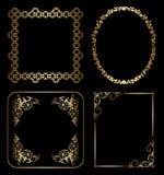 Złociste kwieciste dekoracyjne ramy Zdjęcia Royalty Free