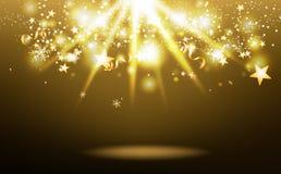 Złociste lekkiego promienia mknące gwiazdy spada, luksusowy sezon, gwiazdy pękają confetti, płatek śniegu i faborki, świętowanie  royalty ilustracja