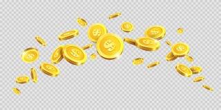 Złociste monety lub złoty pieniądze monety pluśnięcia splatter na wektorowym przejrzystym tle ilustracja wektor