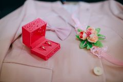 Złociste obrączki ślubne dla państwa młodzi Zdjęcia Stock
