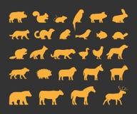 Złociste sylwetki ustawiać gospodarstwo rolne i dzikie zwierzęta Zdjęcie Royalty Free