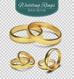 Złociste wektorowe obrączki ślubne na trasparent tle również zwrócić corel ilustracji wektora Małżeństwa zaproszenia elementy royalty ilustracja