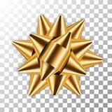 Złocistego łęku 3d wystroju elementu tasiemkowy pakunek Błyszcząca złota atłasowa dekoracja prezenta teraźniejszość, wakacyjny pr ilustracja wektor
