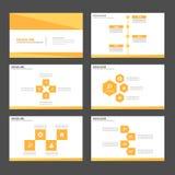 Złocistego żółtego Infographic elementów ikony prezentaci szablonu płaski projekt ustawia dla reklamowej marketingowej broszurki  Fotografia Royalty Free
