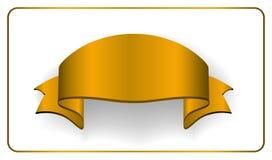 Złocistego atłasu pusty faborek Złoty pusty sztandar Projektuje dekoracja tasiemkowego element odizolowywającego na białym tle Ro royalty ilustracja