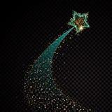 Złocistego błyskotliwego ślimakowatego gwiazdowego pyłu śladu iskrzaste cząsteczki na przejrzystym tle Astronautyczny kometa ogon ilustracji