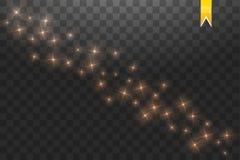 Złocistego gwiazdowego pyłu śladu iskrzaste cząsteczki odizolowywać na przejrzystym tle Wektorowa złocista błyskotliwości fala il Ilustracji