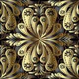 Złocistego rocznika kwiecisty 3d wektorowy bezszwowy wzór Abstrakcjonistyczni ornamen ilustracji