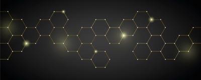 Złocistego technicznego honeycomb tła cyfrowa elektronika royalty ilustracja