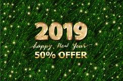 Złocistego teksta Szczęśliwy nowy rok 3d liczba 2019 Zielone świerkowe gałąź, sprzedaży oferty sztandar Wektor dyskontowa reklamo royalty ilustracja