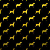 Złocistej Żółtych psów Faux folii polki kropek Kruszcowy Psi Czarny tło Zdjęcie Royalty Free