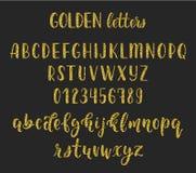 Złocistej błyskotliwości kaligrafii muśnięcia ręcznie pisany łaciński pismo z liczbami i symbolami wektor ilustracji