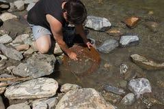 Złocistej bryłki kopalnictwo od rzeki Obrazy Royalty Free