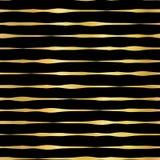 Złocistej folii horyzontalnych linii wektoru ręka rysujący bezszwowy wzór Złoci faliści nieregularni lampasy na czarnym tle elega ilustracja wektor