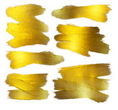 Złocistej folii ilustraci set Akwareli tekstury farby plamy jaśnienia muśnięcia Abstrakcjonistyczny uderzenie dla ciebie Zadziwia ilustracja wektor
