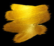 Złocistej folii uderzenia jaśnienia farby plamy Raster ręka Rysująca ilustracja Czarna ilustracja Zdjęcie Royalty Free
