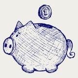 Złocistej monety spadek w prosiątko banka Obrazy Royalty Free