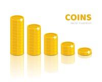 Złocistej monety stosów kreskówki styl odizolowywający Zdjęcia Stock
