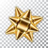 Złocisty łęku 3D wystroju elementu tasiemkowy pakunek Błyszcząca złota szablonu prezenta teraźniejszość odizolowywał białego prze royalty ilustracja
