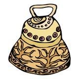 Złocisty Ślubny Bell, statek Bell, Kościelny Bell Atrament Wektorowa ilustracja Odizolowywająca Na Białym tła Doodle kreskówki ro Fotografia Royalty Free