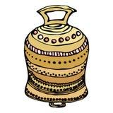 Złocisty Ślubny Bell, statek Bell, Kościelny Bell Atrament Wektorowa ilustracja Odizolowywająca Na Białym tła Doodle kreskówki ro Zdjęcia Stock