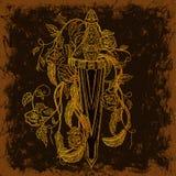 Złocisty średniowieczny kordzik, róże, liście i piórka na brown grunge tle, Rocznik kwiecista wysoce szczegółowa ręka rysująca il ilustracja wektor