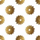 Złocisty abstrakcjonistyczny kwiatu wzór Ręka malujący kwiecisty bezszwowy tło Obrazy Royalty Free