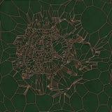 Złocisty abstrakta wzór na zielonym tle świadczenia 3 d Obrazy Stock