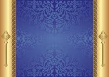 Złocisty błękitny tło Fotografia Stock