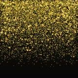Złocisty błyskotliwość confetti wektor Spada złoty gwiazdowy pył odizolowywający na czarnym tle Boże Narodzenie połysk ilustracja wektor