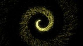 Złocisty błyskotliwy ślimakowaty ślad iskrzaste pył cząsteczki na czarnym tle Kręcony magiczny kometa ogon Złotego twirl przędzal royalty ilustracja
