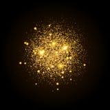 Złocisty błyszczący cząsteczka kształt tła lśnienie Stardust wybuch na czarnym tle Wektorowa świąteczna ilustracja ilustracji