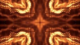 Złocisty bezszwowy abstrakcjonistyczny tło z cząsteczkami Wirtualna przestrzeń z głębią pole, łuna błyska i cyfrowi elementy zbiory wideo