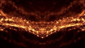 Złocisty bezszwowy abstrakcjonistyczny tło z cząsteczkami Wirtualna przestrzeń z głębią pole, łuna błyska i cyfrowi elementy zbiory