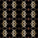 Złocisty bezszwowy geometryczny wzór na czarnym tle ilustracji