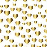 Złocisty bezszwowy wzór, romantyczny złoty tło z sercami Obrazy Royalty Free