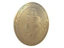 Złocisty bitcoin od przodu, odgórnego lub bocznego widoku odizolowywającego na białym tła 3d renderingu, ilustracji