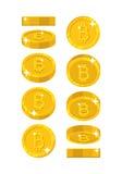 Złocisty bitcoin widoków kreskówki styl odizolowywający Obraz Stock