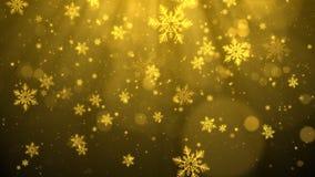 Złocisty Bożenarodzeniowy tło z płatkami śniegu, błyszczącymi światłami i cząsteczki bokeh w eleganckim temacie, Zdjęcia Royalty Free