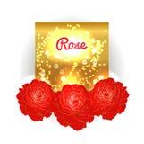 Złocisty bokeh tło z czerwonymi różami Obraz Stock