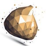 Złocisty 3D projekta wektorowy abstrakcjonistyczny przedmiot, poligonalny Zdjęcia Royalty Free