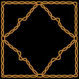 Złocisty diament wyplatający w złocistej ramie z ornamentem Zdjęcia Royalty Free