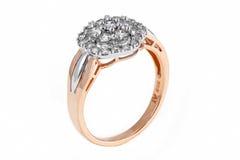 Złocisty diamentowy pierścionek Obraz Stock