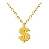 Złocisty dolar na łańcuchu Dekoracja dla rap artystów Akcesorium p royalty ilustracja