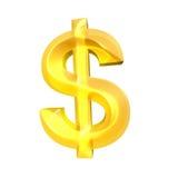 Złocisty Dolarowy znak na białym tle Obraz Royalty Free