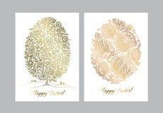 Złocisty Easter jajko z ludowym dekoracyjnym wzorem ilustracja wektor