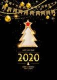 Złocisty ew roku 2020 tło royalty ilustracja