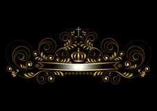 Złocisty faborek z koroną i krzyż na czarnym tle royalty ilustracja